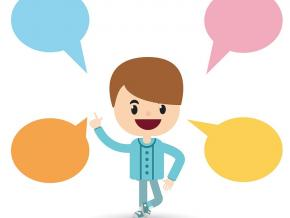 A person with multicolored speech bubbles